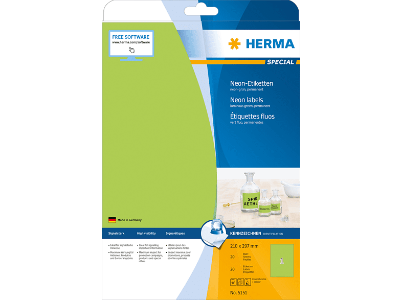 HERMA 5151 Neonetiketten  210x297 mm A4 20 St.