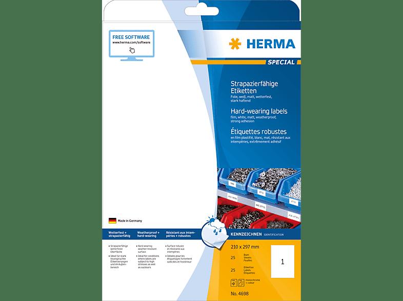 HERMA 4698 Etiketten strapazierfähig  210x297 mm A4 25 St.