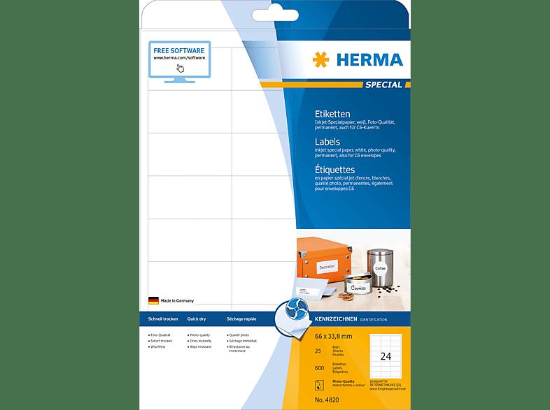 HERMA 4820 Inkjet-Etiketten  66x33.8 mm A4 600 St.