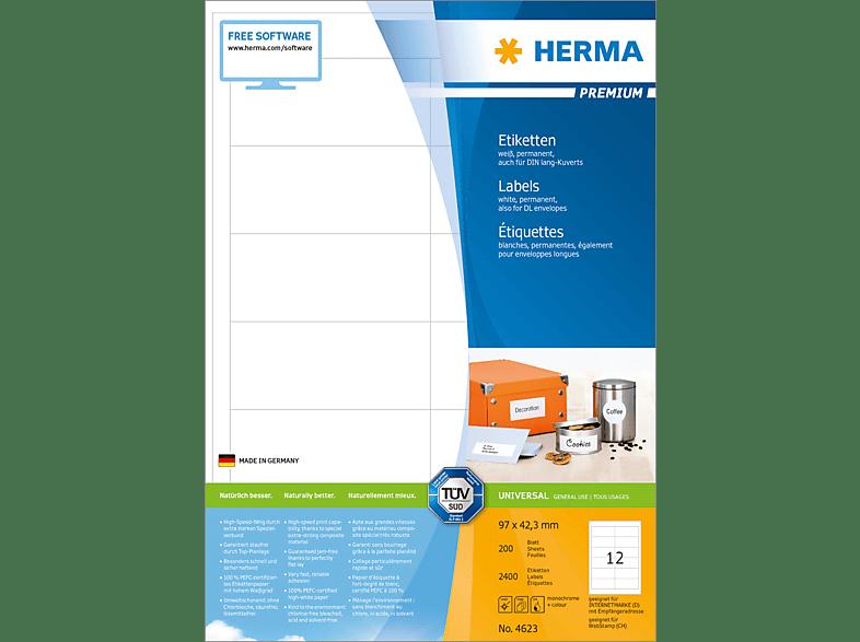 HERMA 4623 Etiketten Premium  97x42.3 mm A4 2400 St.