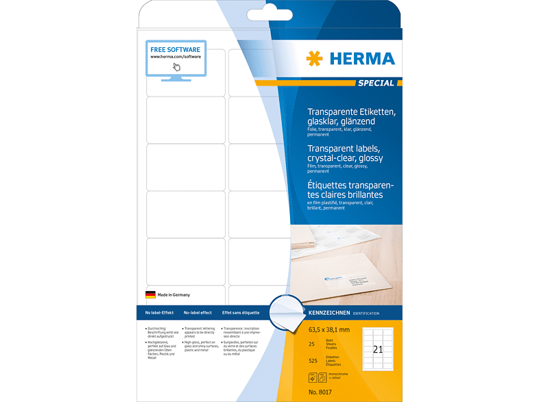 HERMA 8017 Etiketten transparent  63.5x38.1 mm A4 525 St.