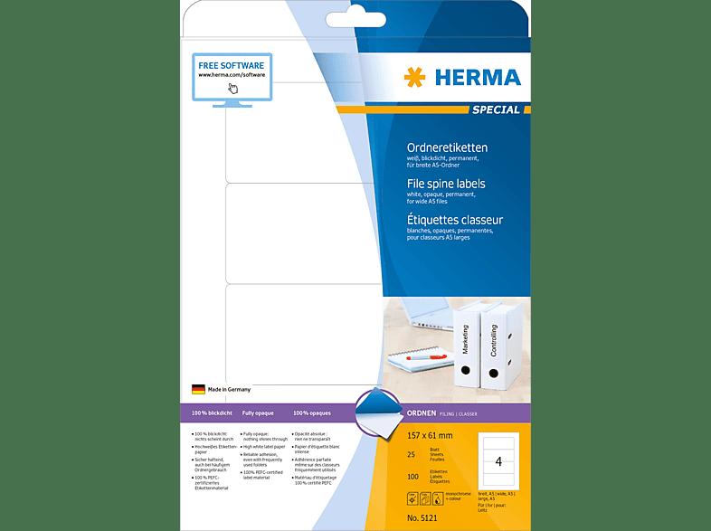 HERMA 5121 Ordneretiketten  157x61 mm A4 100 St.