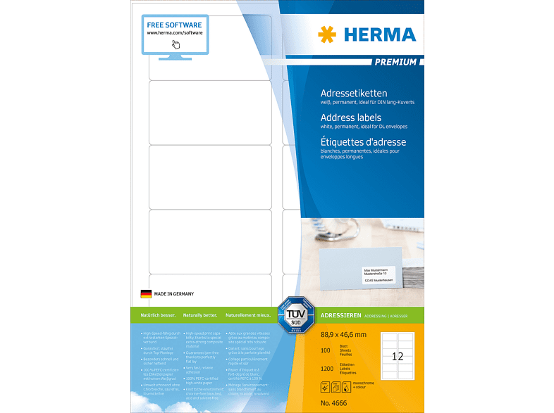 HERMA 4666 Adressetiketten  88.9x46.6 mm A4 1200 St.