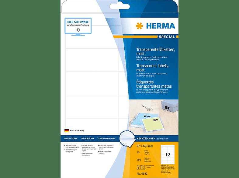 HERMA 4682 Etiketten transparent  97x42.3 mm A4 300 St.