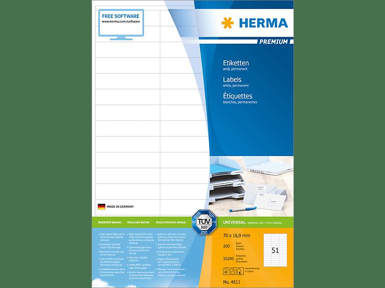 HERMA 4611 Etiketten Premium  70x16.9 mm A4 10200 St.