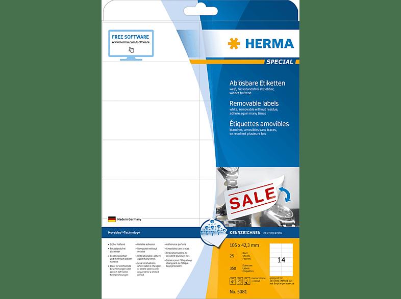 HERMA 5081 Ablösbare Etiketten  105x42.3 mm A4 350 St.