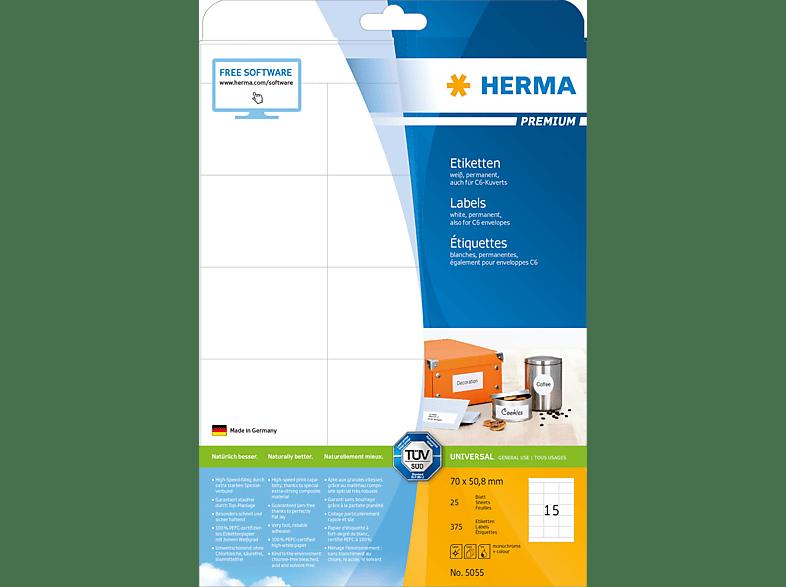 HERMA 5055 Etiketten Premium  70x50.8 mm A4 375 St.