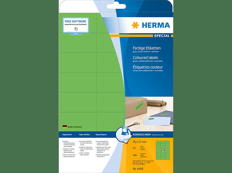 HERMA 4469 Farbige Etiketten  70x37 mm A4 480 St.