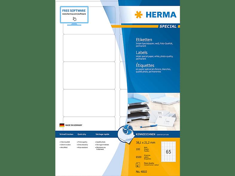 HERMA 4810 Inkjet-Etiketten  38.1x21.2 mm A4 65 St.