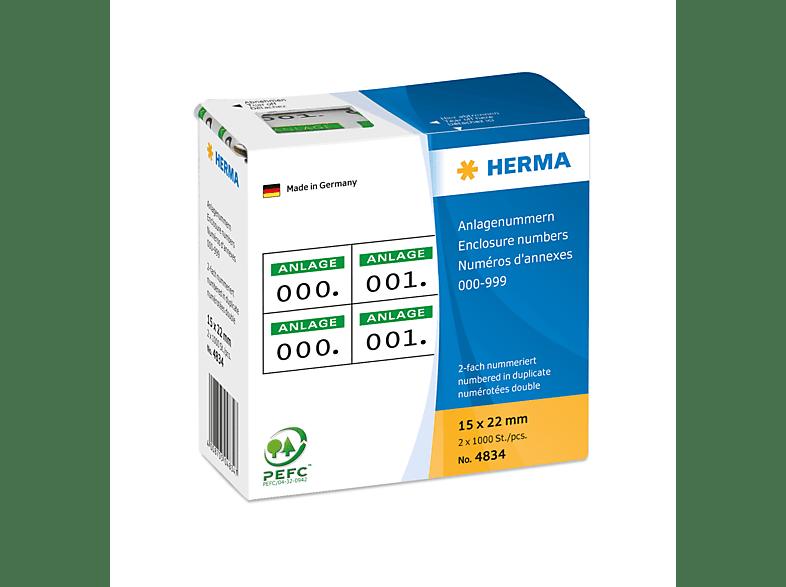 HERMA 4834 Anlagenummern  15x22 mm  2 x 10000 St.