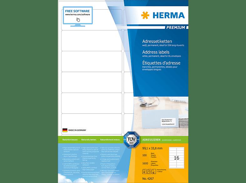 HERMA 4267 Adressetiketten  99.1x33.8 mm A4 1600 St.