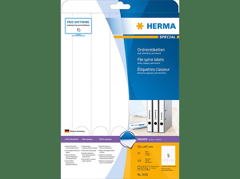 HERMA 5158 Ordneretiketten  34x297 mm A4 125 St.