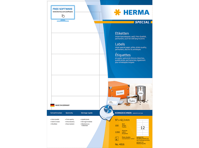 HERMA 4816 Inkjet-Etiketten  97x42.3 mm A4 1200 St.