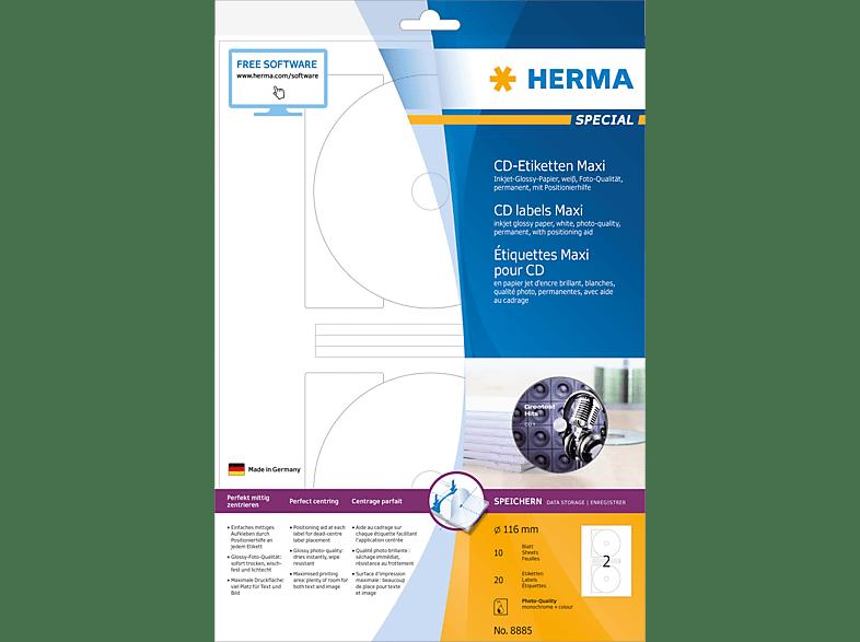 HERMA 8885 Inkjet CD-Etiketten  Ø 116 mm A4 20 St.