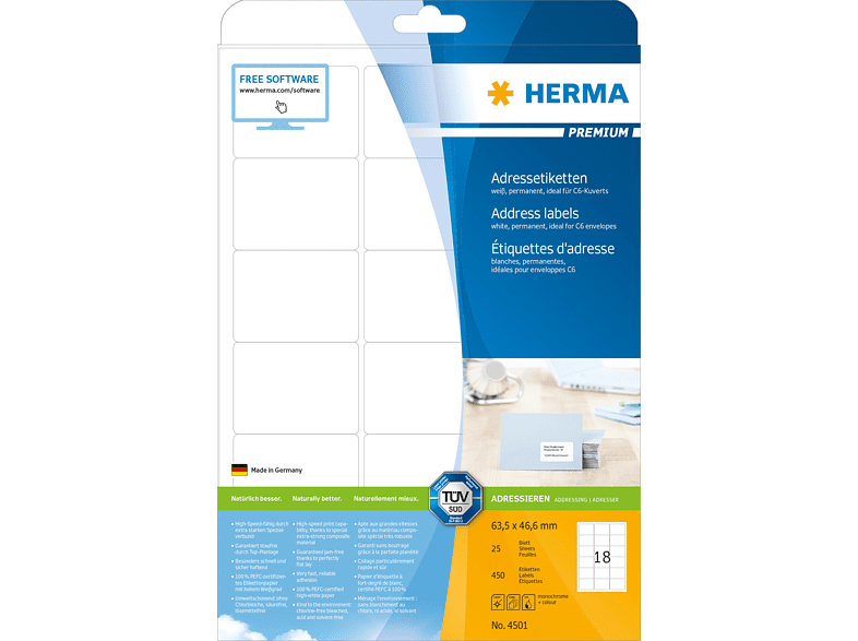 HERMA 4501 Adressetiketten  63.5x46.6 mm A4 450 St.