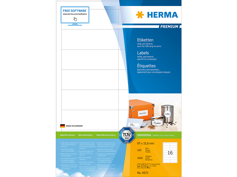 HERMA 4672 Etiketten Premium  97x33.8 mm A4 1600 St.