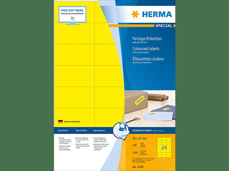 HERMA 4406 Farbige Etiketten  70x37 mm A4 2400 St.