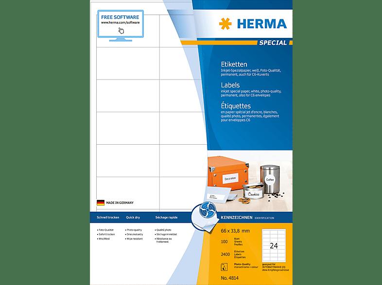 HERMA 4814 Inkjet-Etiketten  66x33.8 mm A4 2400 St.