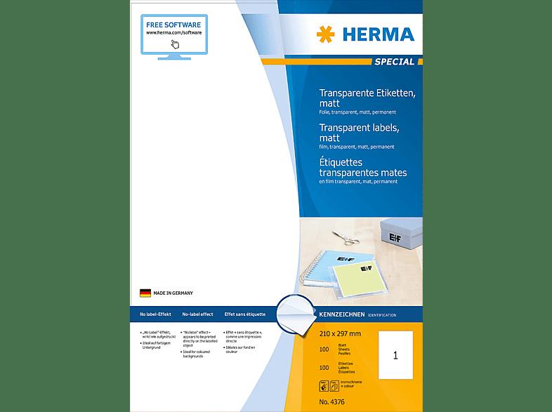 HERMA 4376 Etiketten transparent  210x297 mm A4 100 St.