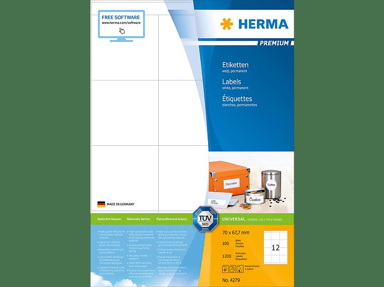 HERMA 4279 Etiketten Premium  70x67.7 mm A4 1200 St.