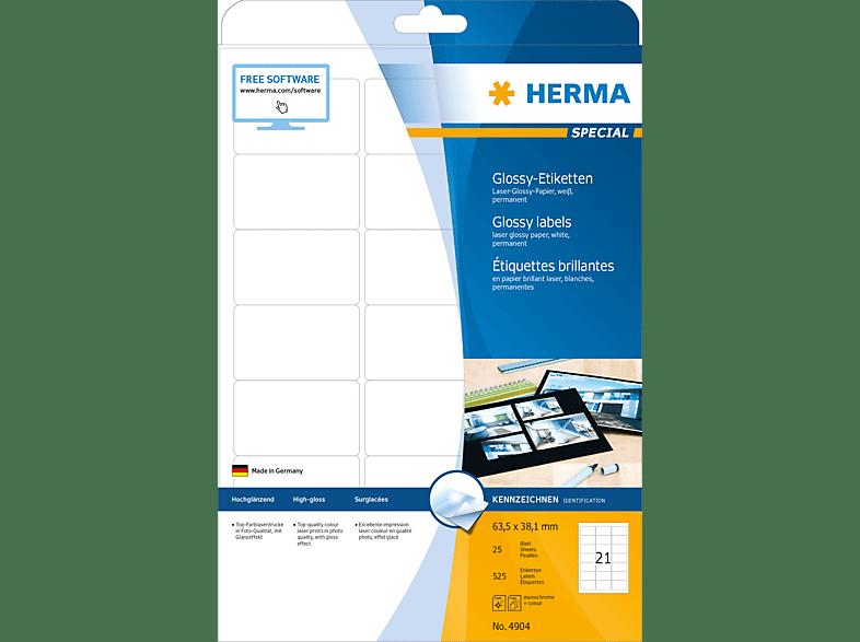 HERMA 4904 Etiketten glänzend  63.5x38.1 mm A4 21 St.