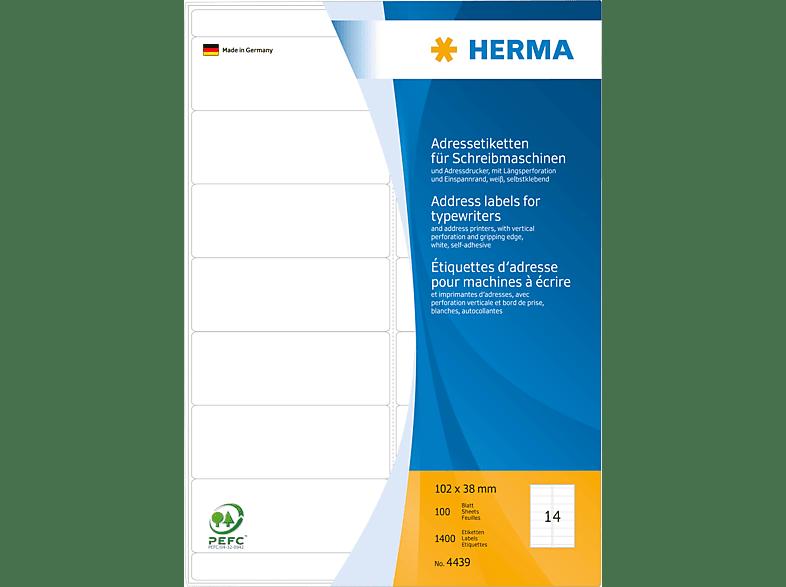 HERMA 4439 Adressetiketten  102x38 mm A4 1400 St.