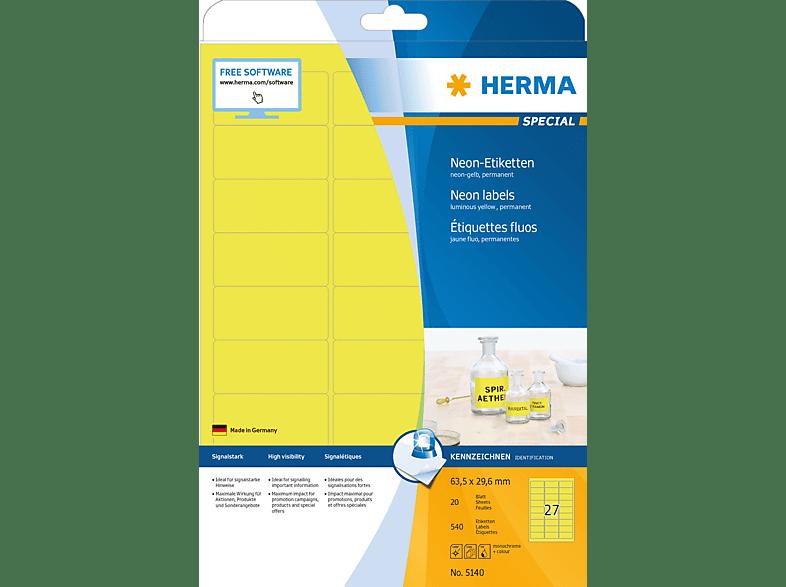 HERMA 5140 Neonetiketten  63.5x29.6 mm A4 540 St.