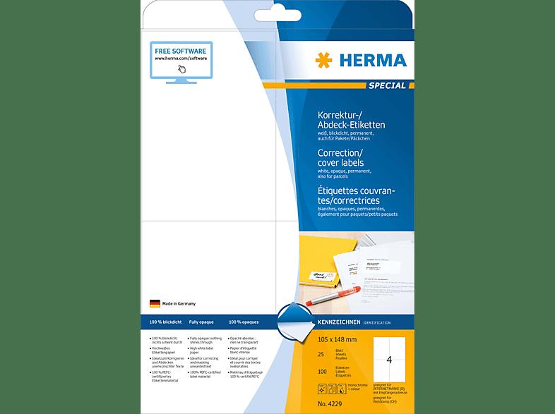 HERMA 4229 Korrektur-/Abdecketiketten  105x148 mm A4 100 St.