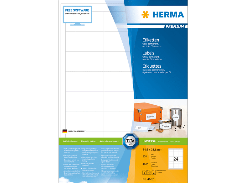 HERMA 4632 Etiketten Premium  64.6x33.8 mm A4 4800 St.