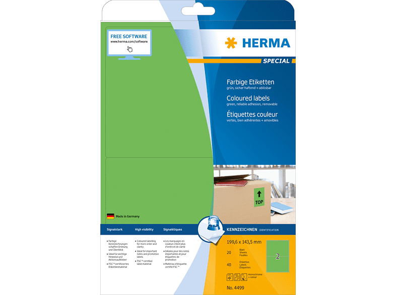 HERMA 4499 Farbige Etiketten  199.6x143.5 mm A4 40 St.