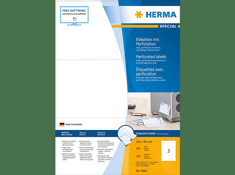 HERMA 4664 Etiketten mit Perforation  210x99 mm A4 300 St.
