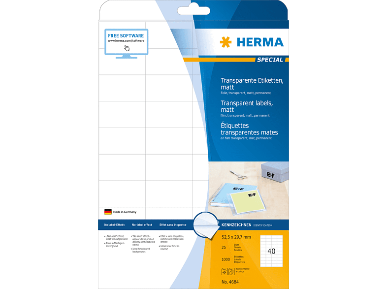 HERMA 4684 Etiketten transparent  52.5x29.7 mm A4 100 St.