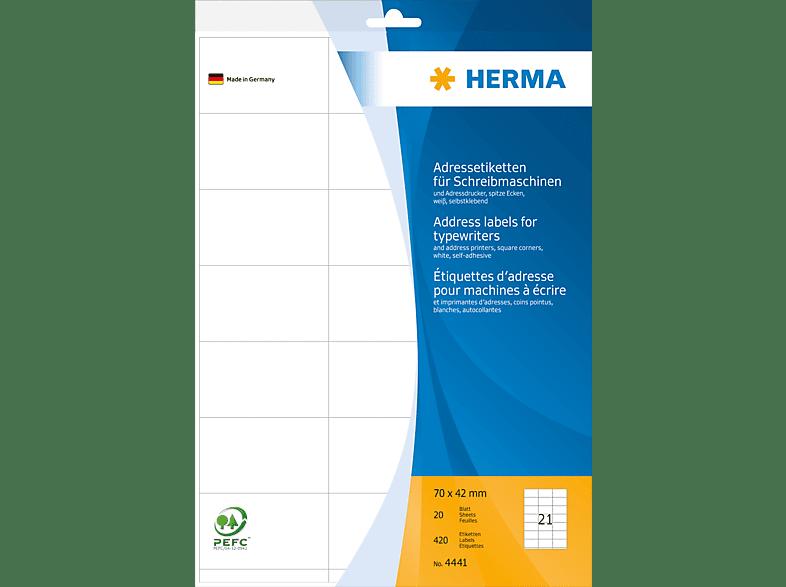 HERMA 4441 Adressetiketten  70x42 mm A4 420 St.
