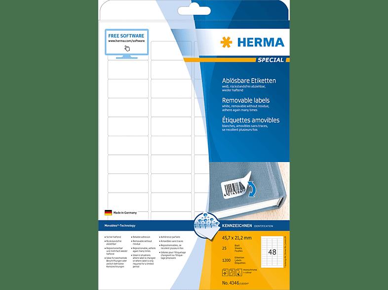 HERMA 4346 Ablösbare Etiketten  45.7x21.2 mm A4 1200 St.