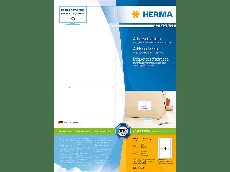 HERMA 4472 Adressetiketten  78.7x139.7 mm A4 400 St.