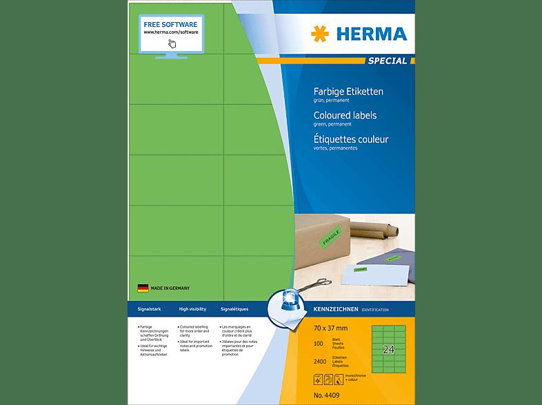 HERMA 4409 Farbige Etiketten  70x37 mm A4 2400 St.