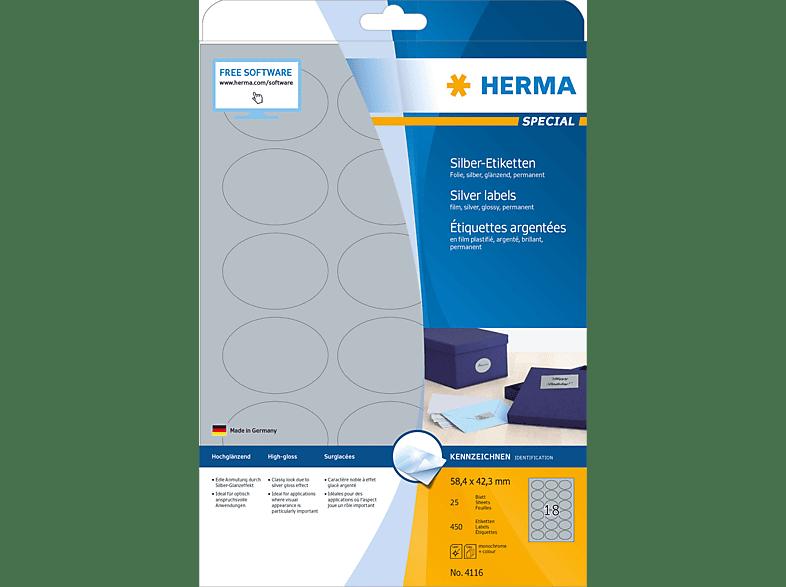HERMA 4116 Silber-Etiketten  oval 58.4x42.3 mm A4 450 St.