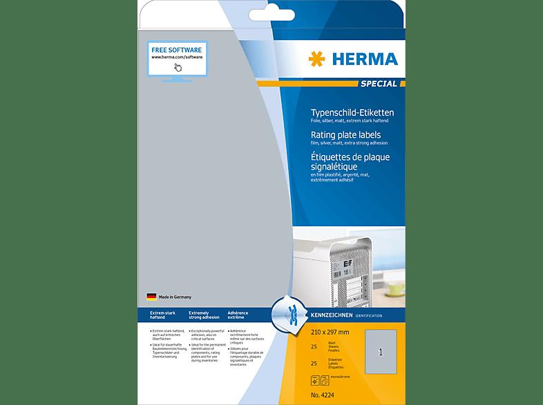 HERMA 4224 Typenschildetiketten  210x297 mm A4 25 St.
