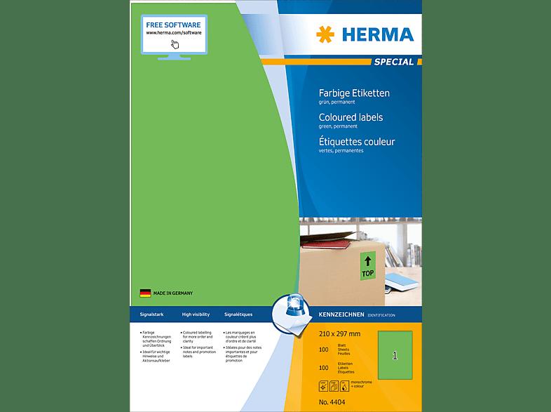 HERMA 4404 Farbige Etiketten  210x297 mm A4 100 St.