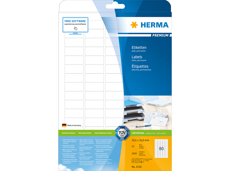 HERMA 4336 Etiketten Premium  35.6 x 16.9 mm A4 2000 Stk.