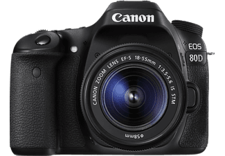 CANON EOS 80D Spiegelreflexkamera, 24.2 Megapixel, 18-55 mm Objektiv (IS, STM), Touchscreen Display, Schwarz
