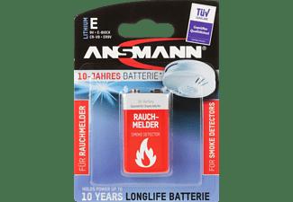 ANSMANN Lithium Batterie für Rauchmelder 9V E-Block 9 Volt Batterie, Lithium-Mangandioxid, 9 Volt 1 Stück