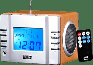 AUGUST MB300 Uhrenradio, FM Tuner, Braun/Silber
