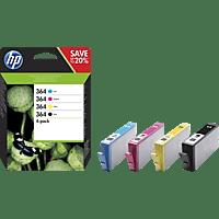 HP 364 Tintenpatrone 4er-Pack Schwarz/Cyan/Magenta/Gelb (N9J73AE)
