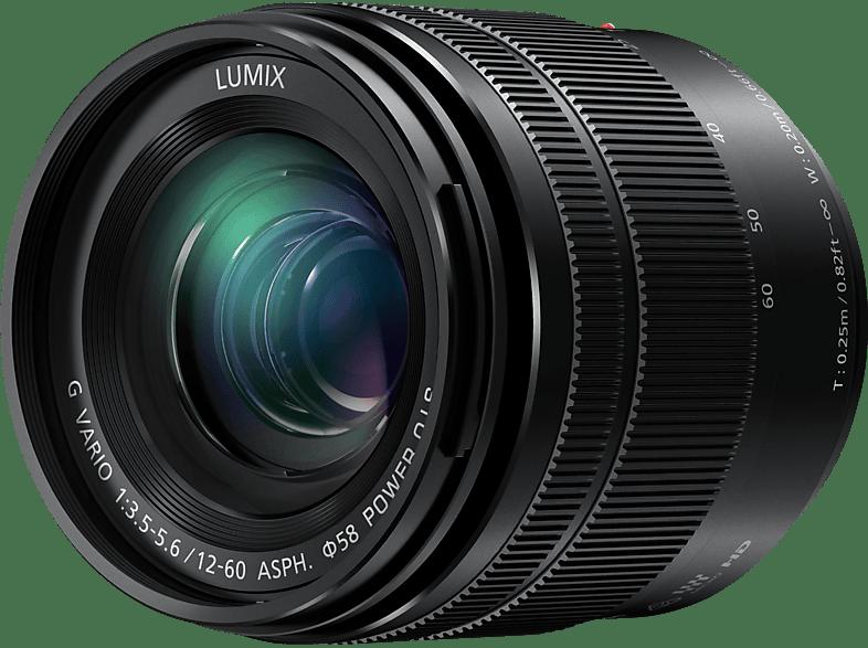 PANASONIC H-FS12060E Lumix G 12 mm-60 mm f/3.5-5.6 OIS, ASPH (Objektiv für Micro-Four-Thirds, Schwarz)