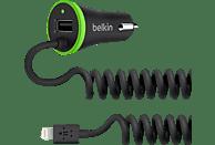 BELKIN 2in1, 3.4A, mit festem Lightning-Kabel (2.4A) + USB-Anschluss (1.0A),es Auto-Ladegerät