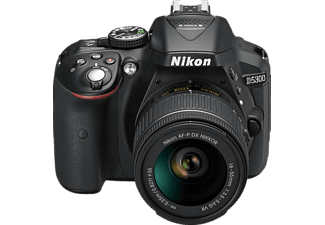 NIKON D5300 Kit Spiegelreflexkamera, HD, 18-55 mm Objektiv (AF-P, VR), WLAN, Schwarz