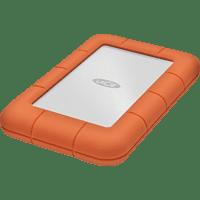 LACIE Rugged Mini Festplatte, 4 TB HDD, 2,5 Zoll, extern, Silber/Orange