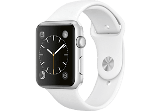 Apple Watch Sport, caja 42 mm, aluminio en plata y correa deportiva blanca