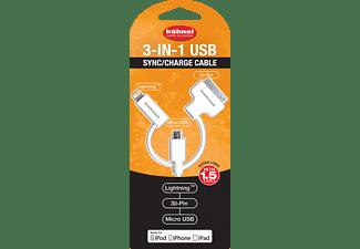 HÄHNEL USB 3in1 Datenkabel, Ladegerät, 20 cm, Weiß